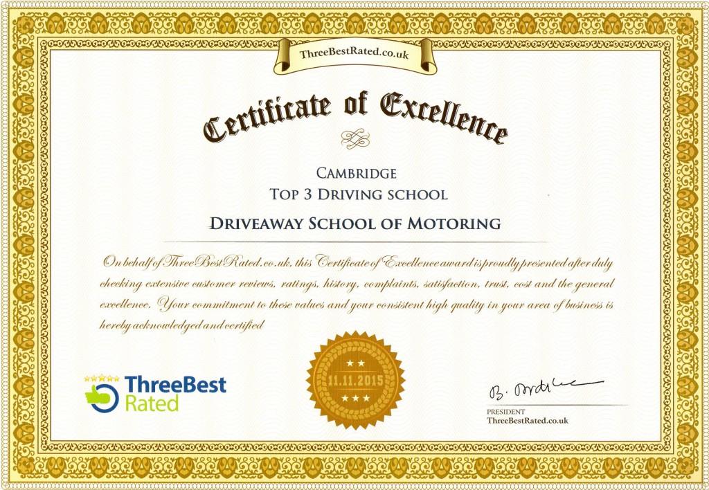 Driveaway School of Motoring Certificate of Excellence