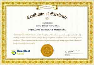 Driveaway School of Motoring Certificate of Excellence